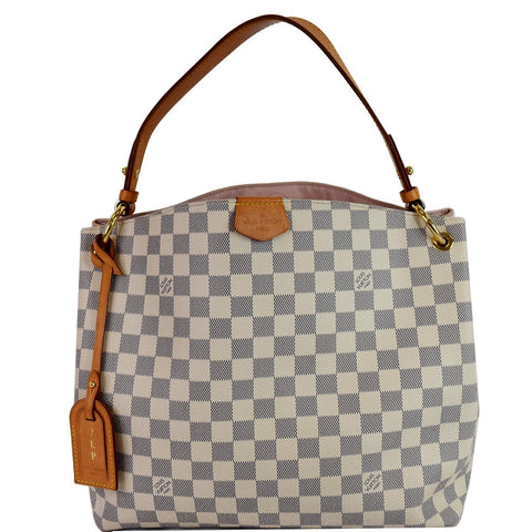 LOUIS VUITTON Graceful PM Damier Azur Shoulder Bag White
