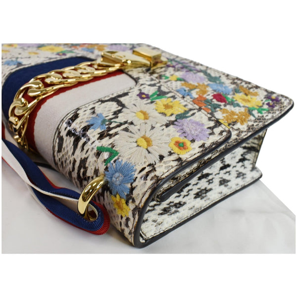 Gucci Small Sylvie Floral Embroidered Roccia Snakeskin Bag