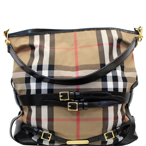 BURBERRY Bridle House Check Canvas Gosford Hobo Bag Black