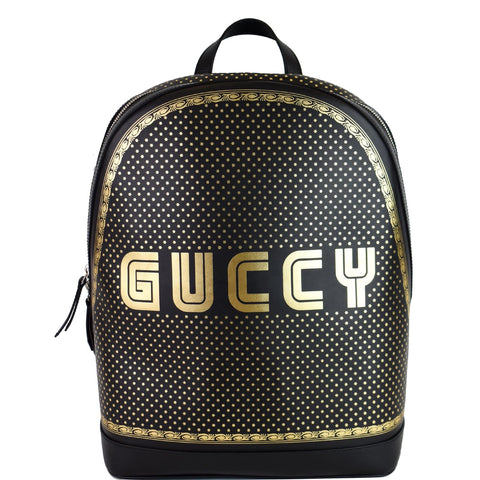 GUCCI Guccy Magnetismo Leather Backpack Bag Black 419584