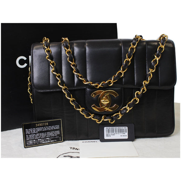 CHANEL Vintage Classic Jumbo Single Flap Vertical Lambskin Shoulder Bag Black