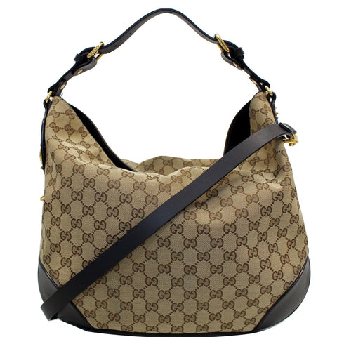 GUCCI Patti Studded Canvas Hobo Shoulder Bag Black 296870