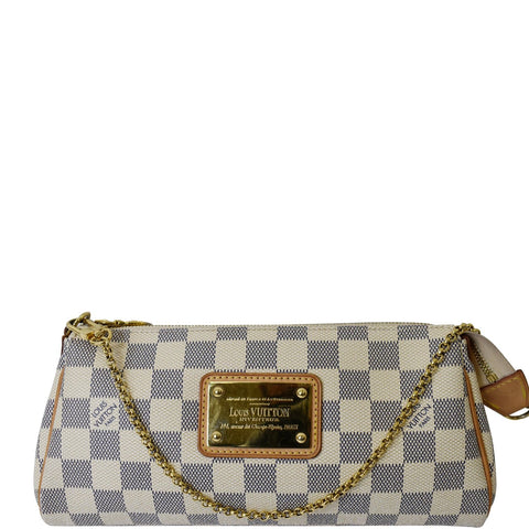 LOUIS VUITTON Pochette Eva Damier Azur Clutch Bag White