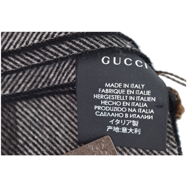 Gucci Web Stripe Wool Scarf Brown 387574 made in Itlay