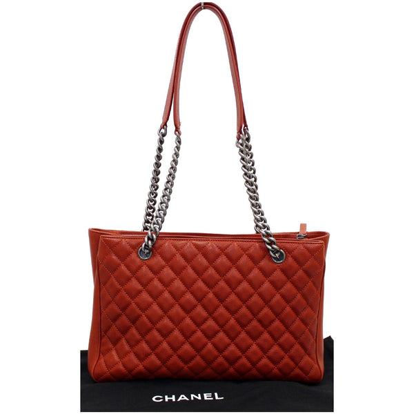 CHANEL Medium Rock In Rome Quilted Caviar Shoulder Tote Bag Red