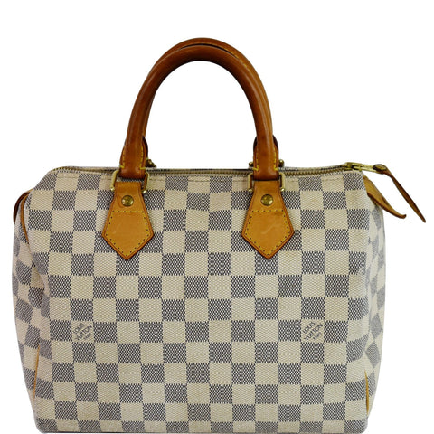 LOUIS VUITTON Speedy 25 Damier Azur Satchel Bag White
