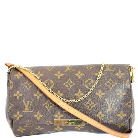 LOUIS VUITTON Favorite MM Monogram Canvas Crossbody Bag Brown