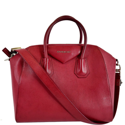 GIVENCHY Antigona Medium Goatskin Leather Shoulder Bag Red