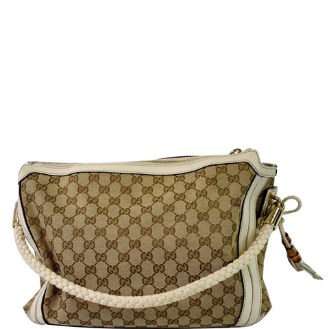 GUCCI Medium Bella GG Canvas Hobo Bag Beige 269949