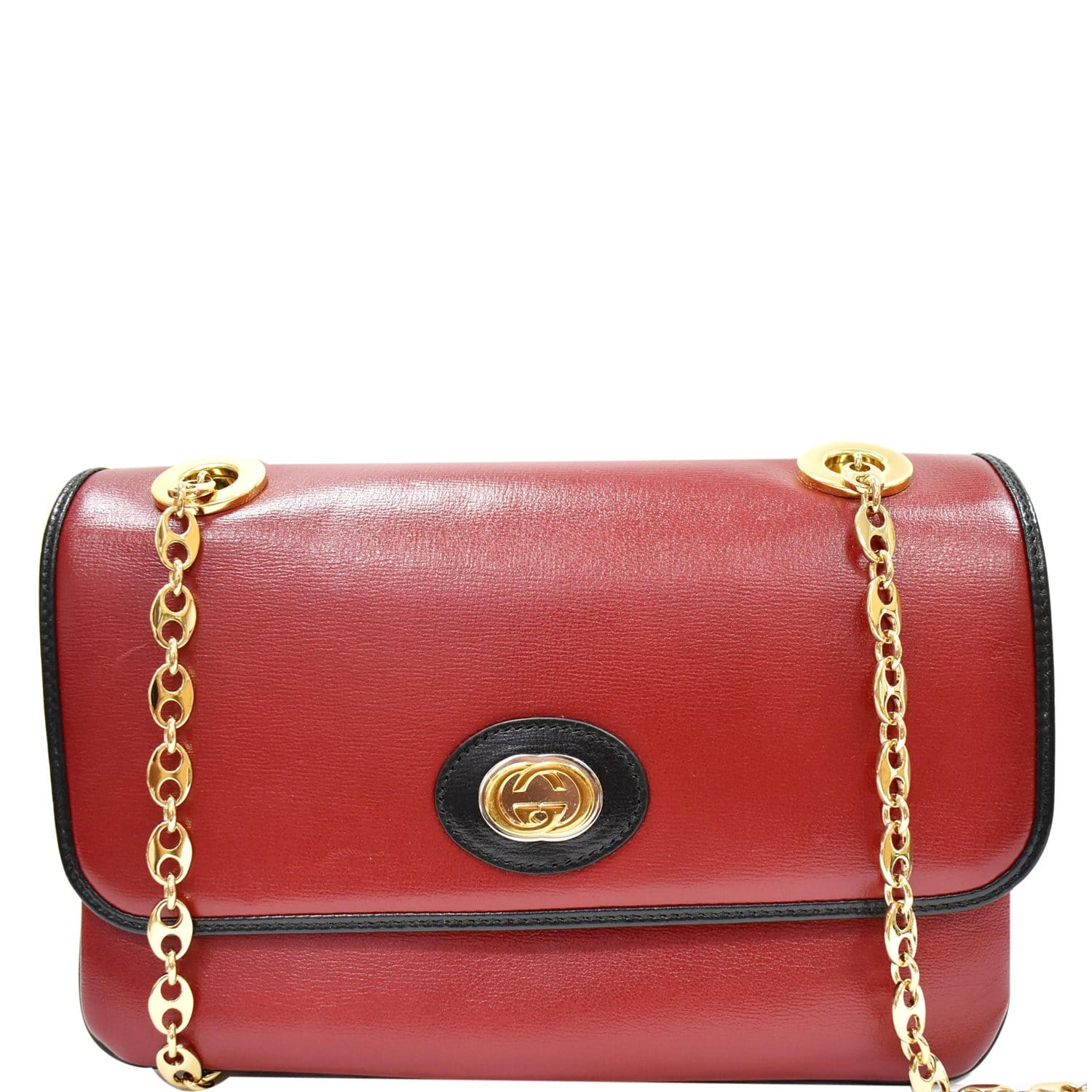 GUCCI Linea Marina Small Leather Chain Shoulder Bag Red 576421