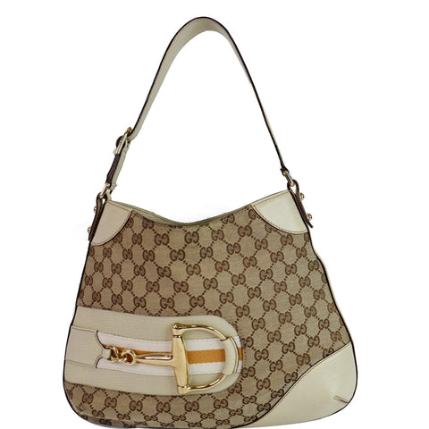 GUCCI Hasler Horsebit GG Canvas Leather Hobo Bag Beige 137388