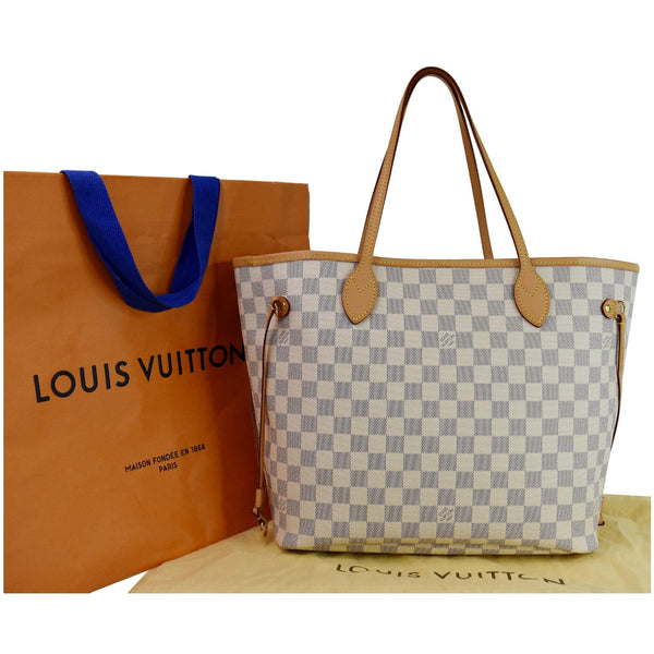 full view lv Neverfull MM Damier Azur Shoulder Bag