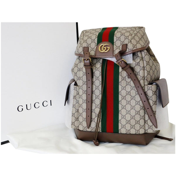 Gucci Ophidia GG Medium Supreme Canvas Backpack Bag - upfront view