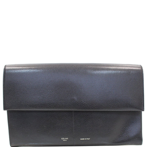 CELINE Folded Clutch Strap Leather Shoulder Bag Black