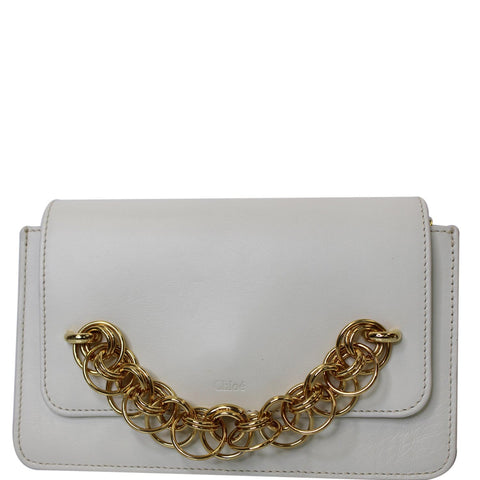 CHLOE Drew Bijou Calfskin Crossbody Clutch Bag White