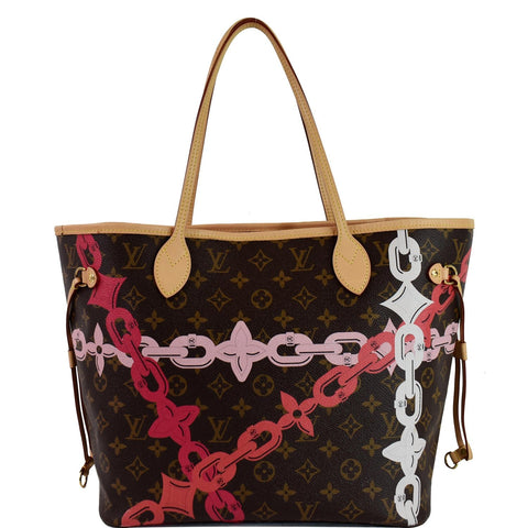 LOUIS VUITTON Bay Neverfull MM Monogram Canvas Shoulder Bag Fuchsia