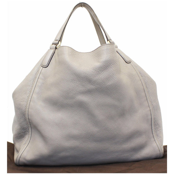 GUCCI Soho Pebbled Leather Large Tote Shoulder Bag Taupe-US