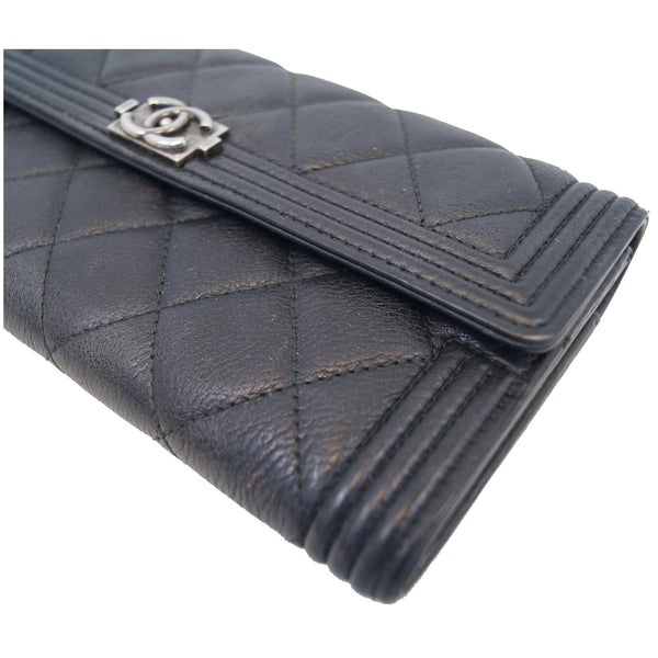 Chanel Boy Large Flap Lambskin Leather Wallet Black corner view