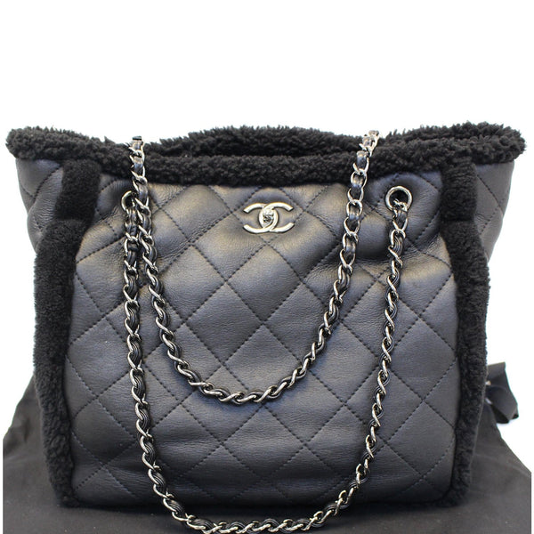Chanel Tote Bag Cozy CC Shearling and Lambskin Black - leather