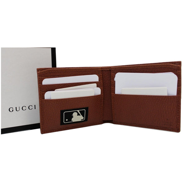 GUCCI NY New York Yankees Patch GG Canvas Bifold Wallet Brown 547787