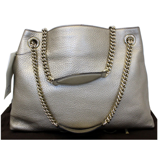 GUCCI Soho Pebbled Leather Chain Shoulder Bag 308982 Silver-US