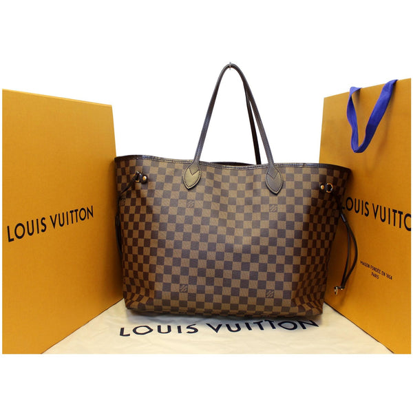 Louis Vuitton Neverfull GM Damier Ebene Shoulder Bag - front view