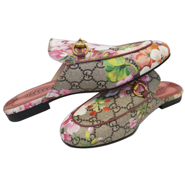 GUCCI Princetown GG Canvas Horsebit Blooms Slipper Pink US 6 432772