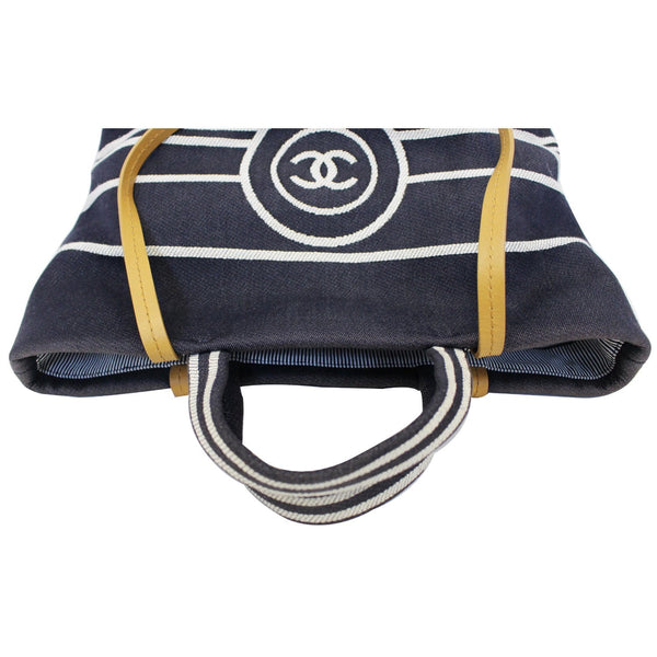 Chanel Tote Bag CC Shopping Large Denim navy blue strap