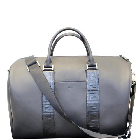 FENDI Black Leather Weekender Satchel Shoulder Bag