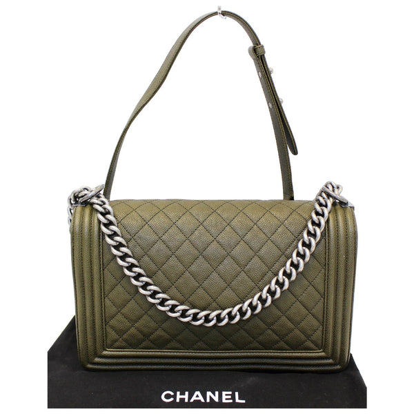 Chanel Boy Medium Flap Caviar Leather Shoulder Bag - chanel strap
