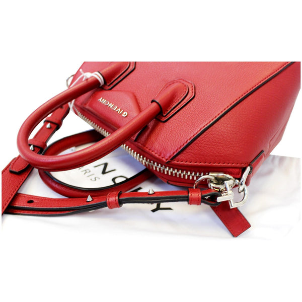 GIVENCHY Mini Antigona Goatskin Leather Shoulder Bag Red