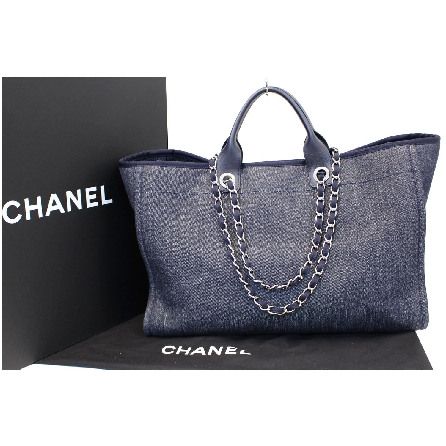 e0781d21bc67 CHANEL Deauville Large Denim Shopping Tote Bag Dark Blue