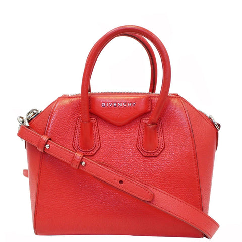 GIVENCHY Antigona Small Calfskin Leather Shoulder Bag Red