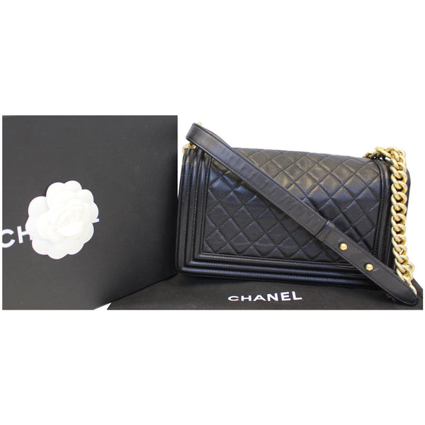 Chanel Le Boy Medium Flap Bag Caviar Leather Black back view