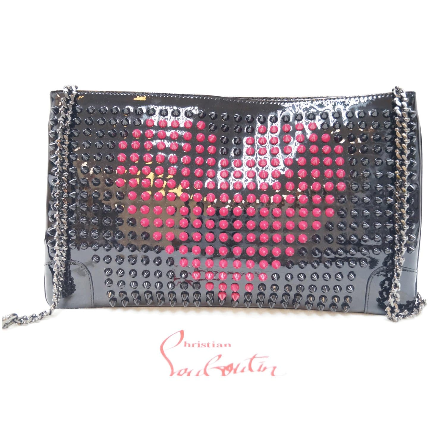 6d1151b320e CHRISTIAN LOUBOUTIN Patent Leather Loubiposh Valentines Spiked Clutch-US