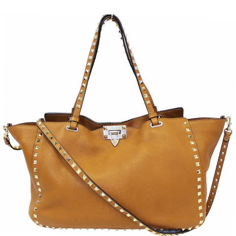 VALENTINO Rockstud Leather Medium Tote Shoulder Bag Camel Brown