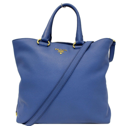 PRADA Vitello Phenix Leather Tote Bag Blue