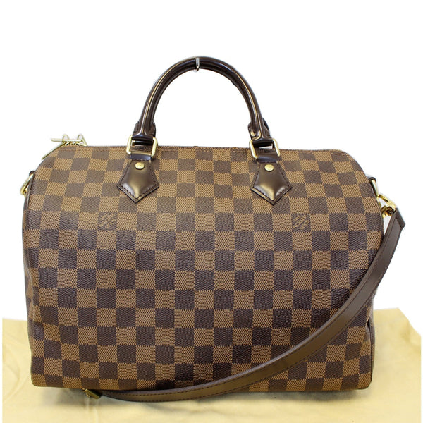 Lv Speedy 30 Damier Ebene Bandouliere Bag Front Look