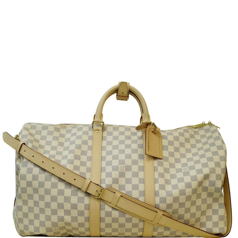 LOUIS VUITTON Keepall 55 Bandouliere Damier Azur Travel Bag White
