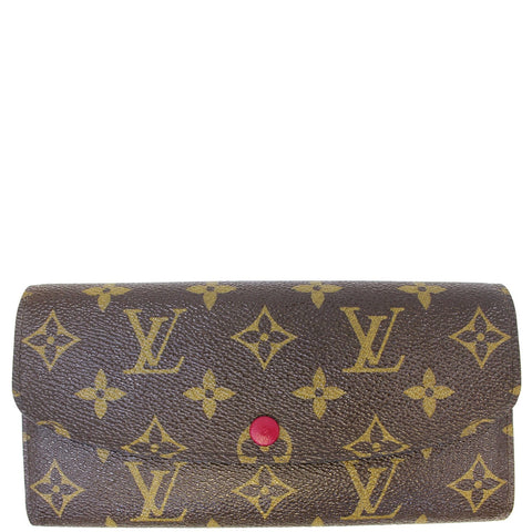 LOUIS VUITTON Emilie Monogram Canvas Wallet Fuchsia