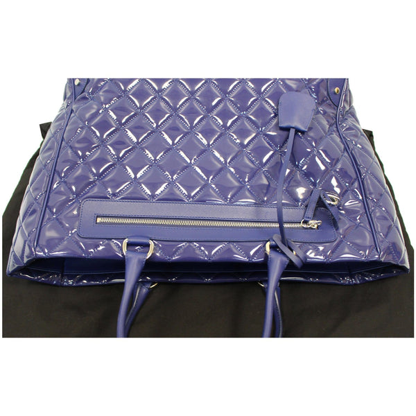CHANEL Timeless XL Quilted Carry-on Patent Leather Tote Royal Blue