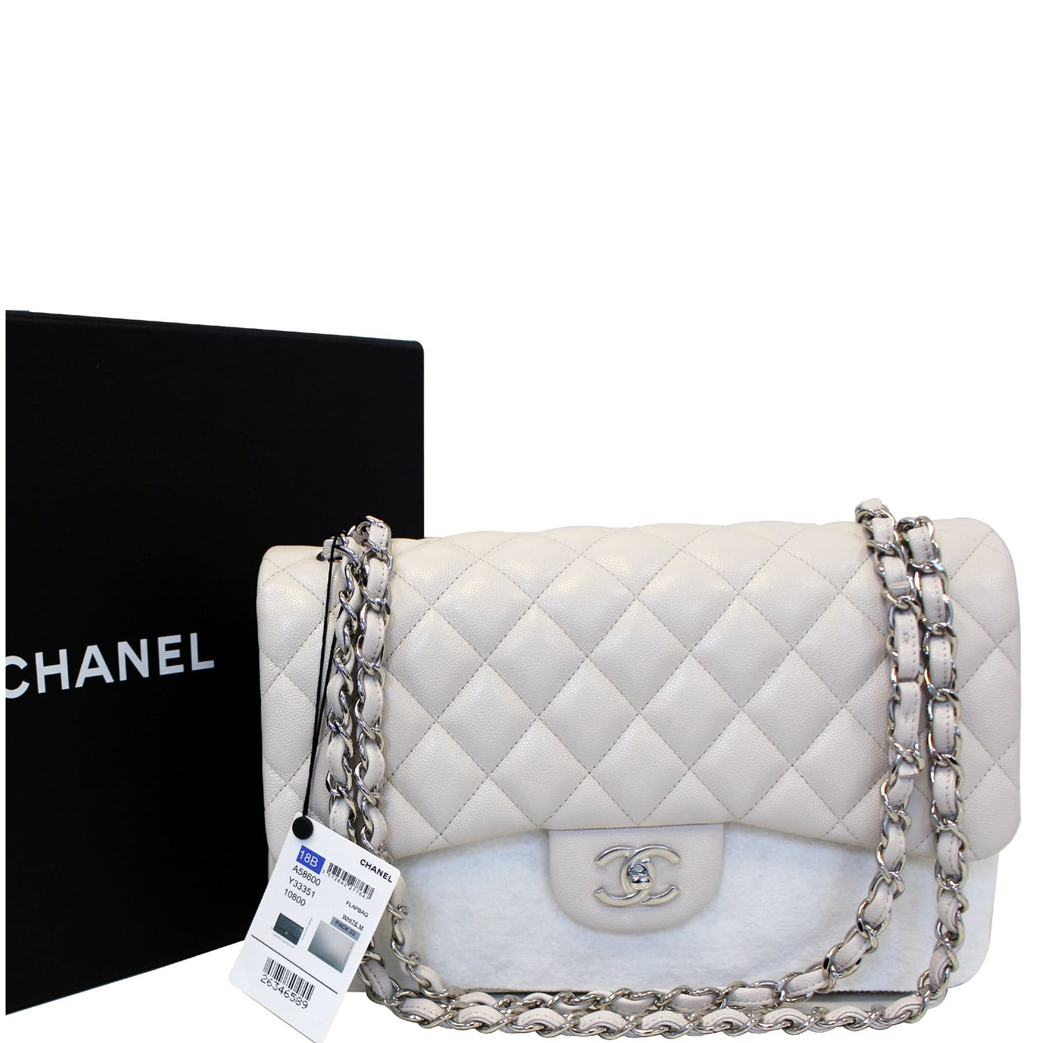 8eac4a9ee640 CHANEL Classic Jumbo Double Flap Caviar Leather White Shoulder Bag-US