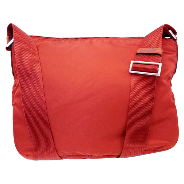 PRADA Large Nylon Crossbody Bag Red - Front View With strap