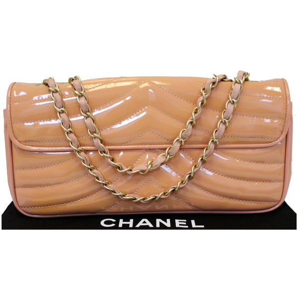 Chanel Flap Shoulder Bag Patent Leather Peach front view