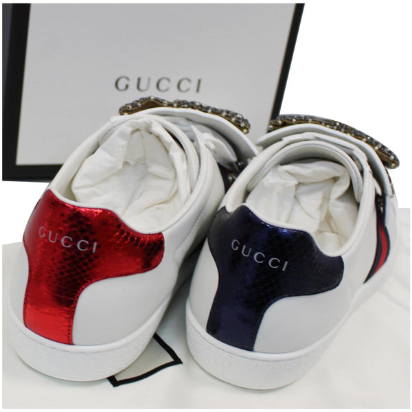 GUCCI Ace Low Top Crystal Bow Patches Sneakers White 481154 US 12