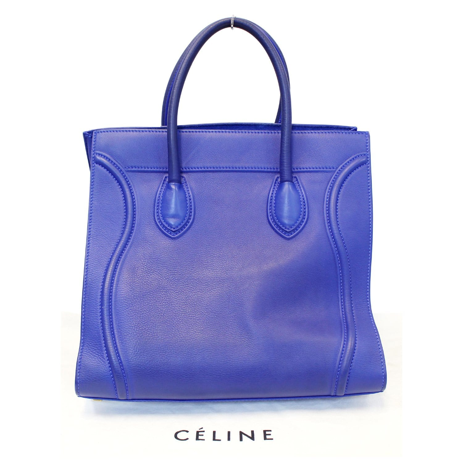 ca45dffbe76 CELINE Phantom Luggage Medium Blue Leather Tote Bag-US