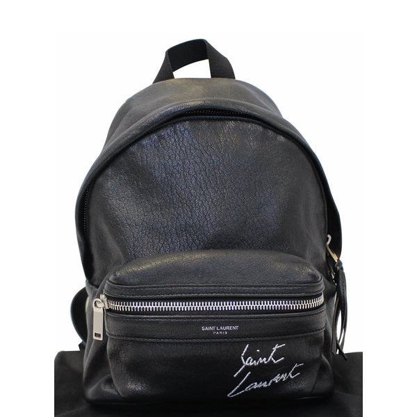 YVES SAINT LAURENT Toy City Embroidered Leather Backpack Bag Black-US