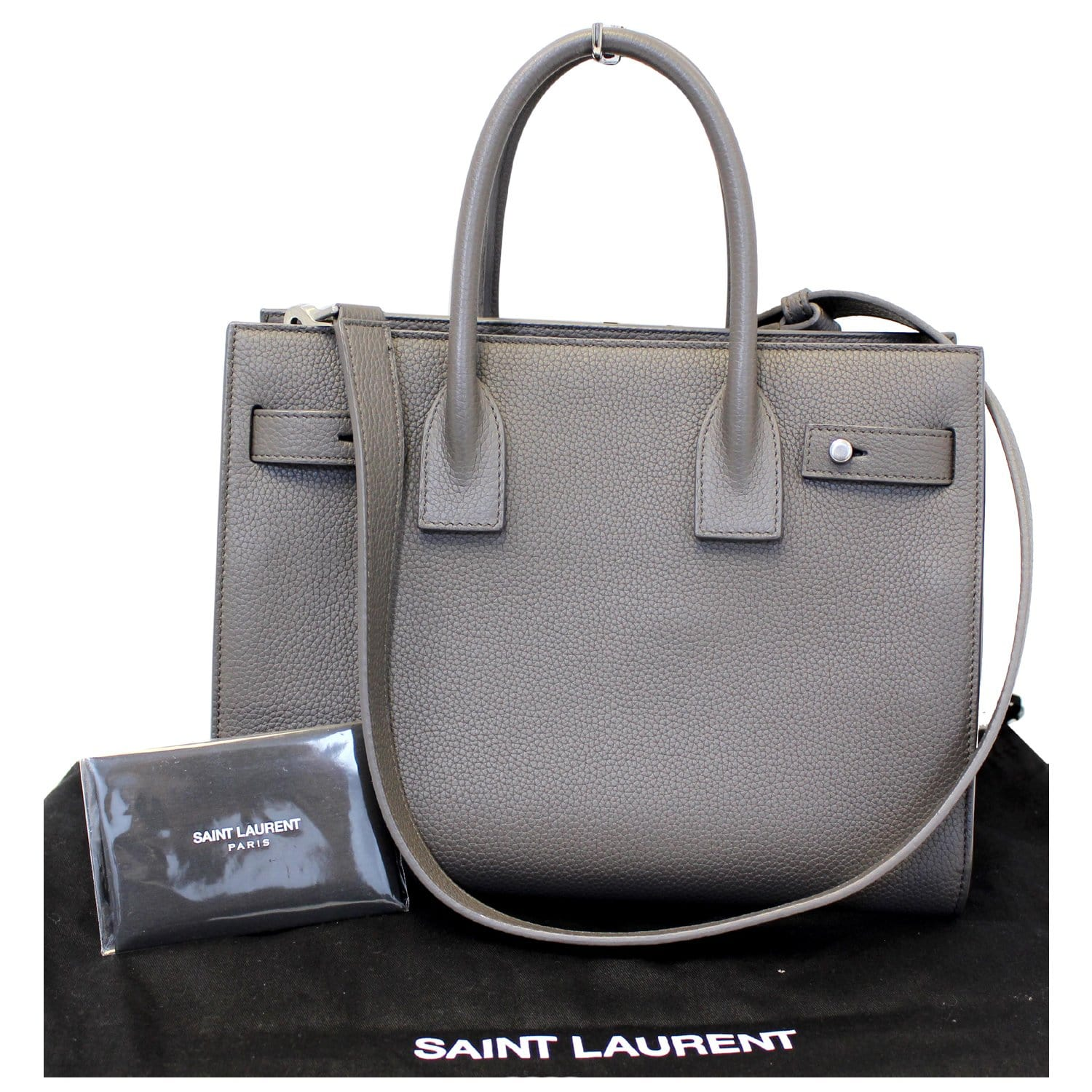 Grained De Jour Leather Bag Grey Laurent Shoulder Saint Small Yves Sac cTlKJF1