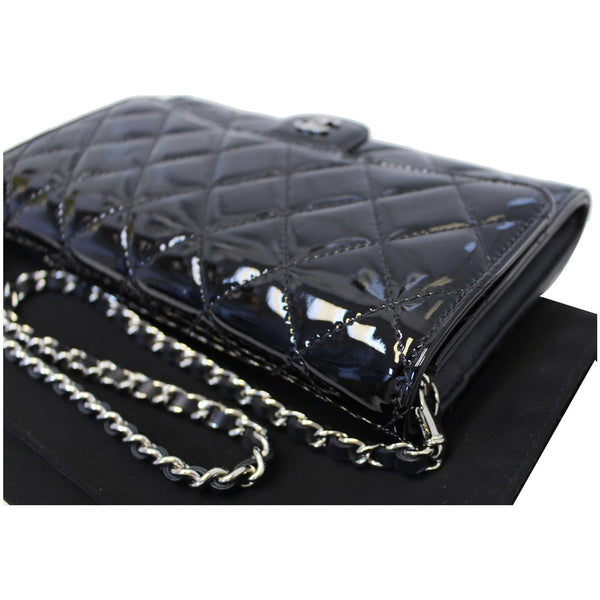 Chanel Flap Shoulder Bag Patent black Leather corner view