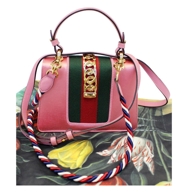 Gucci Shoulder Bag Mini Sylvie Satin Crystal Peony - front view